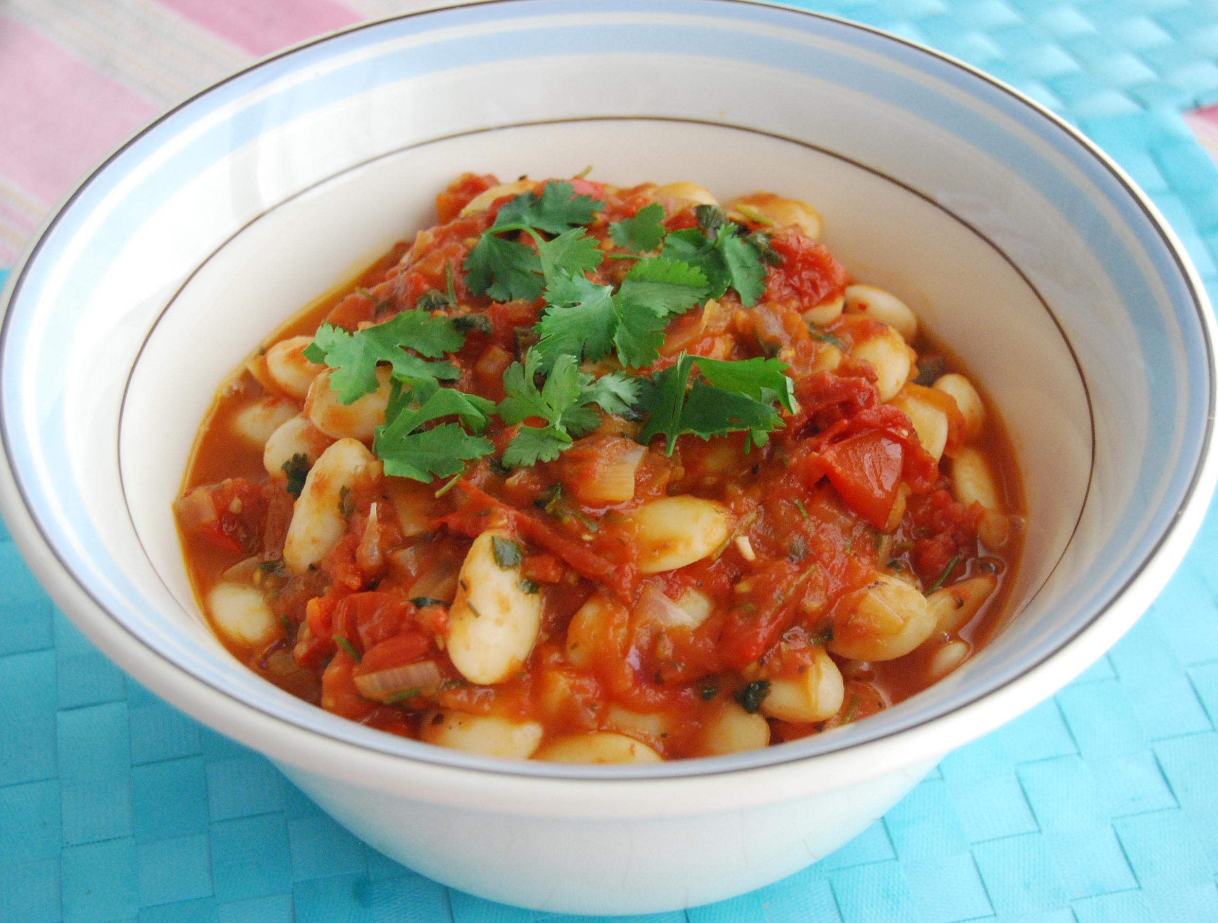 Spinach, three bean & tomato stew